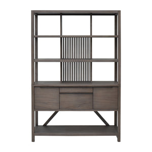 Front View of Hopper Bookcase Hutch in Canti Grey Finish