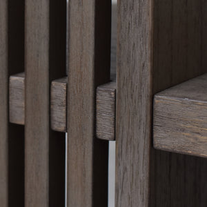 Wood Finish Details of Hopper Bookcase Hutch