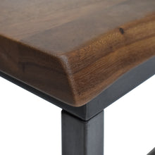 Load image into Gallery viewer, Solid Acacia Wood Top with Live Edge Finish and Iron Frame