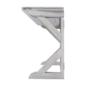 Rustic White Console View of Convertible Table