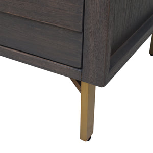 Grey Finish of Wood with Powder-Coated Steel Base of Portland 2 Drawer Nightstand
