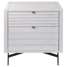 Load image into Gallery viewer, Front View of Modern Whitewashed Portland 2 Drawer Nightstand