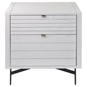 Front View of Modern Whitewashed Portland 2 Drawer Nightstand