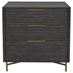 Acacia Wood and Steel are Used in this Portland 3 Drawer Chest