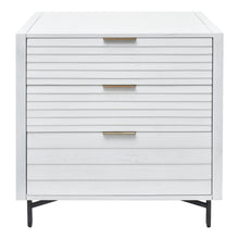 Load image into Gallery viewer, Front View of Portland 3 Drawer Chest with Louvered Panel Drawers