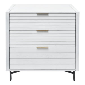 Front View of Portland 3 Drawer Chest with Louvered Panel Drawers