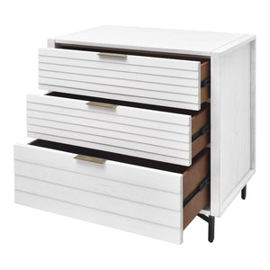Portland 3 Drawer Chest in White Provides a Unique Modern Look