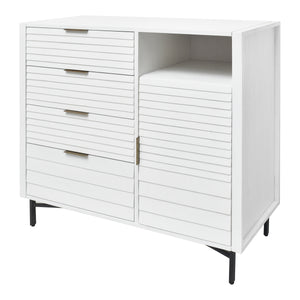 Angled View of Four Drawer and One Cabinet Chest