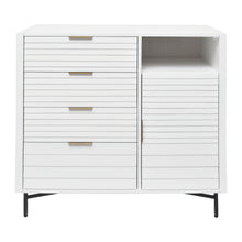 Load image into Gallery viewer, Front View of White Portland 4 Drawer Door Chest from Hopper Studio