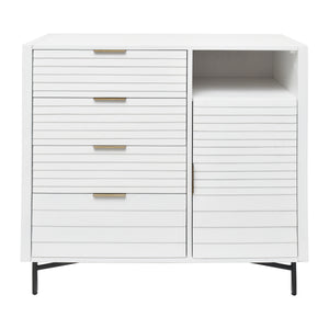 Front View of White Portland 4 Drawer Door Chest from Hopper Studio