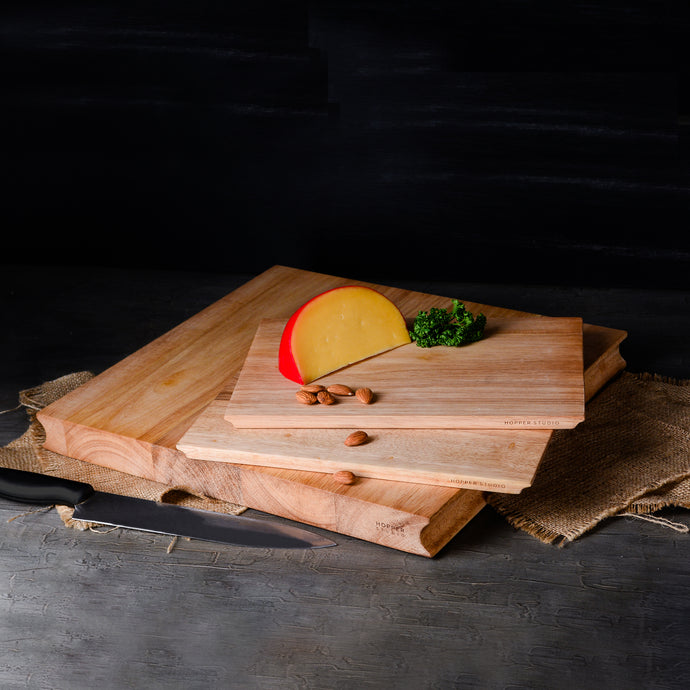 Hopper Rubberwood Cutting Board Set