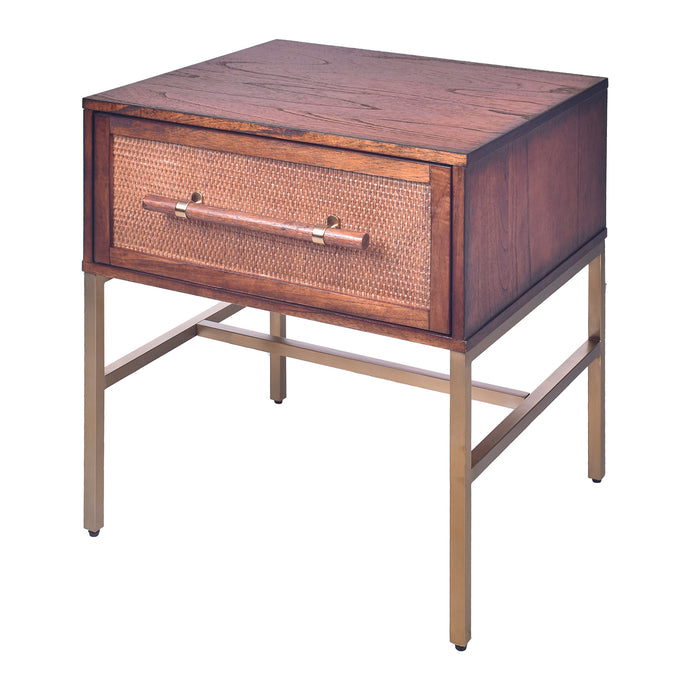 Sophia  1 Drawer Nightstand -Pecan Brown