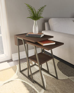 Arthur Grey 2-Piece Nesting Table Set in Staged Room Setting