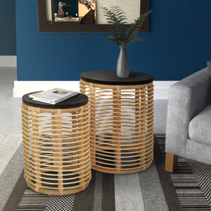 Perry 2 Piece Nested Table Set with Handmade Woven Rattan Used as End Tables in Living Room