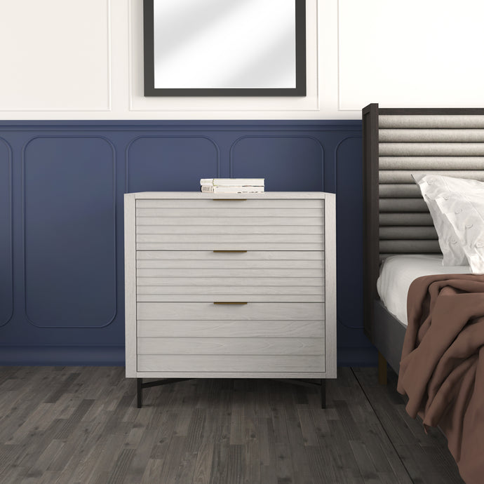 White Portland 3 Drawer Chest Used in Luxurious Bedroom