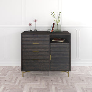 Portland 4 Drawer Door Chest with Louvred Panels and Solid Wood Drawers