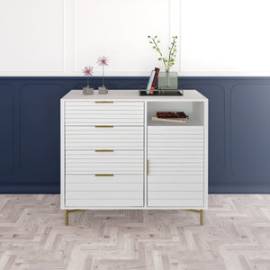 White Portland 4 Drawer Door Chest