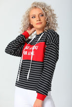Load image into Gallery viewer, Women's Hooded Printed Striped Sweatshirt