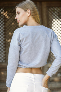 Women's Printed Grey Crop Sweatshirt