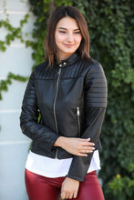 Load image into Gallery viewer, Pocket Detail Black Leather Jacket