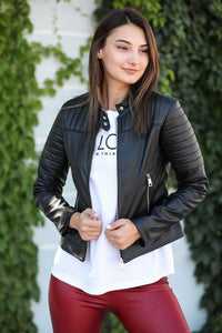 Pocket Detail Black Leather Jacket