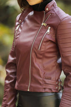 Load image into Gallery viewer, Women's Zipped Side Claret Red Jacket
