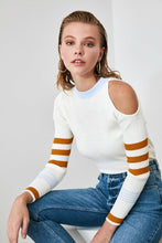 Load image into Gallery viewer, Women's Open Shoulder Ecru Tricot Sweater