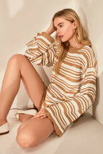 Load image into Gallery viewer, Women's Striped Camel Tricot Sweater