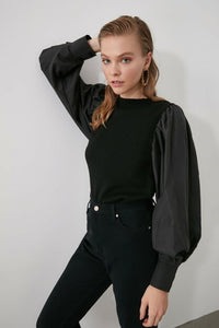 Women's Texture Sleeves Black Tricot Sweater