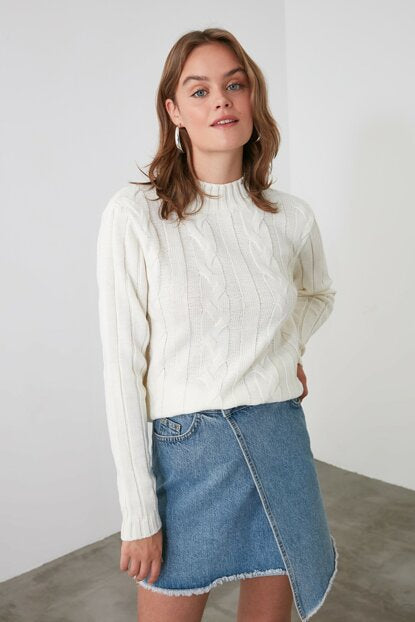 Women's Ecru Tricot Sweater