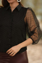 Load image into Gallery viewer, Women's Tulle Black Shirt