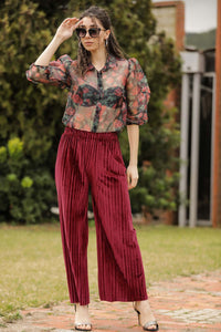 Women's Dark Red Velvet Pants