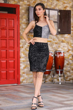 Load image into Gallery viewer, Women's Sequined Black 2 Pieces Set