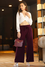 Load image into Gallery viewer, Women's Belted Elastic Waist Claret Red Pants