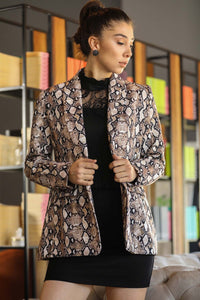 Women's Patterned Beige Blazer Jacket