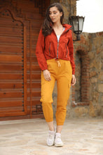 Load image into Gallery viewer, Women's Elastic Waist Mustard Cargo Pants
