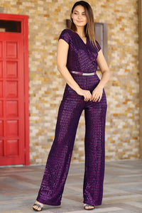 Women's Sequin Purple Overall
