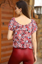 Load image into Gallery viewer, Women's Off Shoulders Patterned Claret Red Blouse