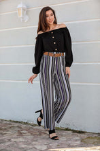 Load image into Gallery viewer, Women's Belted Striped Pants