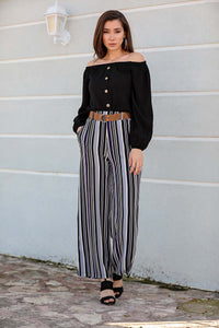 Women's Belted Striped Pants