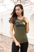 Load image into Gallery viewer, Women's Front Printed Khaki T-Shirt