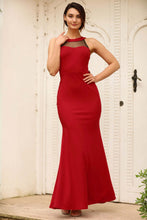 Load image into Gallery viewer, Open Back Tulle Embroidered Red Evening Dress