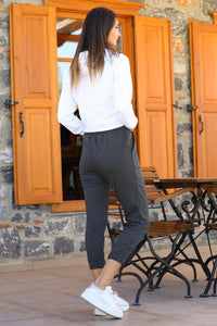 Women's Elastic Ankles Anthracite Sport Pants