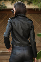Load image into Gallery viewer, Women's Zipped Black Artificial Leather Jacket