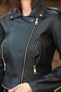 Women's Zipped Black Artificial Leather Jacket