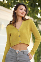 Load image into Gallery viewer, Women's Knit Mustard Cardigan