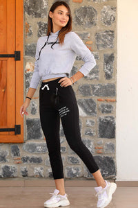 Women's Elastic Legs Black Sweatpants
