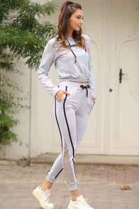 Women's Filet Detail Grey Sweatpants
