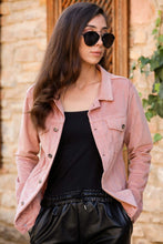 Load image into Gallery viewer, Women's Button Powder Rose Velvet Jacket