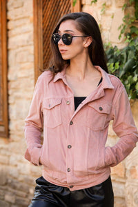 Women's Button Powder Rose Velvet Jacket